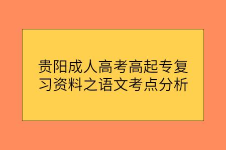 贵阳成人高考高起专复习资料之语文考点分析(十)